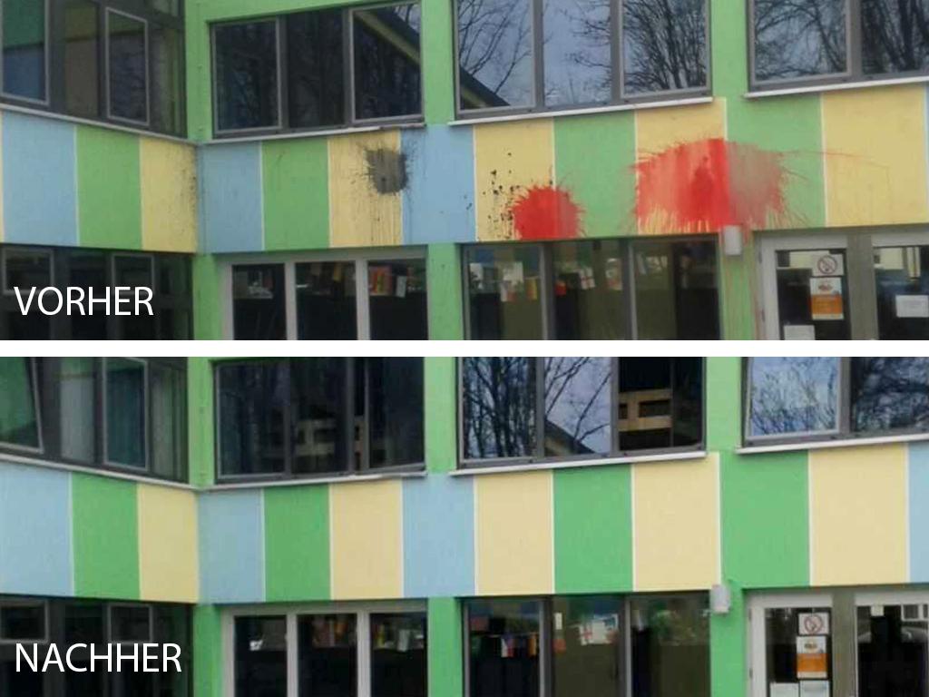 Vorher Nacher Betonwand Graffiti Entfernung