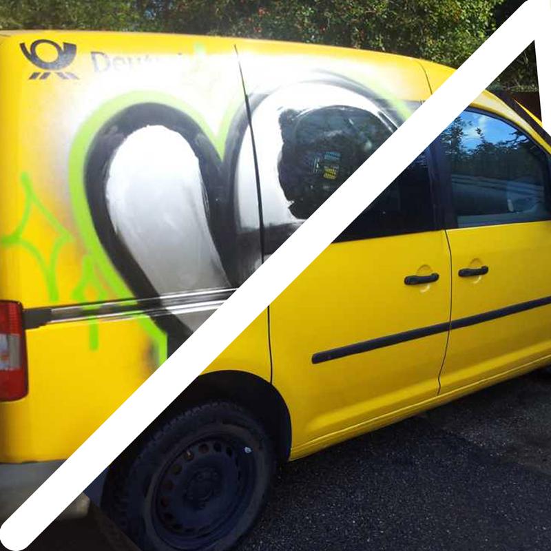 Vorher Nachher Fahrzeug Graffiti Entfernung